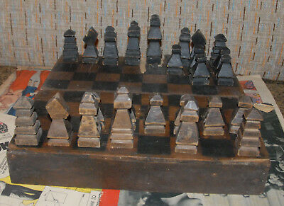 ANTIQUE UNCOMMON SQUARE CHESS SET WITH BOARD 19th CENTURY OR OLDER?
