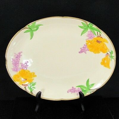 Vintage FRANCISCAN YELLOW POPPY Platter Purple Wisteria Oval California Pottery
