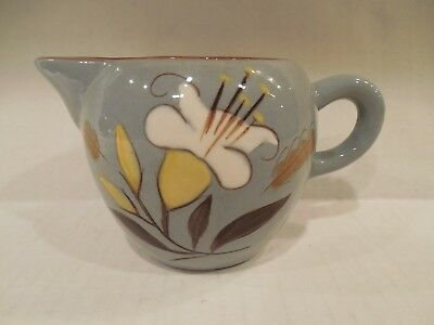 """Stangl Pottery """"Golden Harvest"""" Hand Painted Creamer Yellow Flower on Gray"""