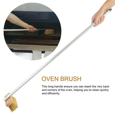 "37""Wood Handle Pizza Oven Grill Baking Brass Bristle Metal Brush Scraper Kitchen"