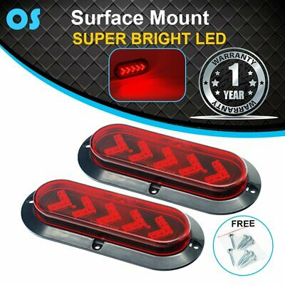 2 x Oval Red 25 LED Sealed Arrow Brake Stop Marker Lights Trailer Truck Boat RV