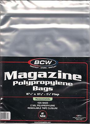 (100) Bcw Resealable Magazine Size Bags / Covers - Priority Shipping