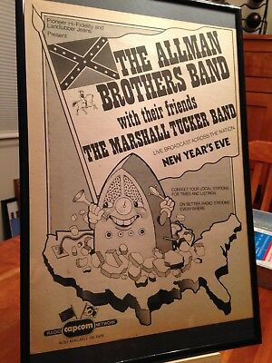 "Big 11X17 Framed Allman Brothers Band ""new Years Eve Concert 1973"" Promo Ad"