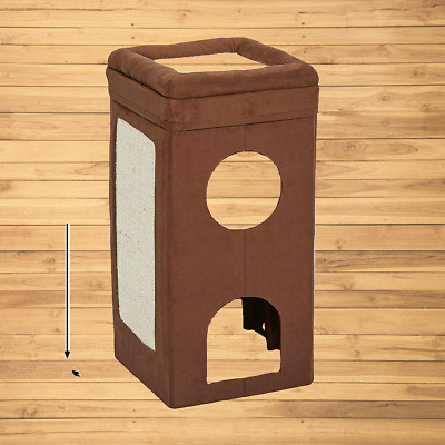 MidWest Curious Cat Cube, Cat House / Cat Condo Color: Brown Double Story new
