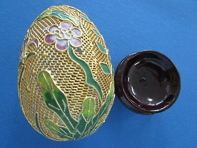 1970 Chinese Export Gilt Mesh Enamel Egg with Stand