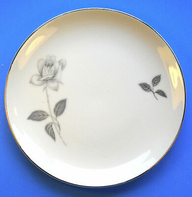 """Queens Royal Fine China Gray Rose 6 1/2"""" BREAD AND BUTTER SALAD PLATE Japan"""