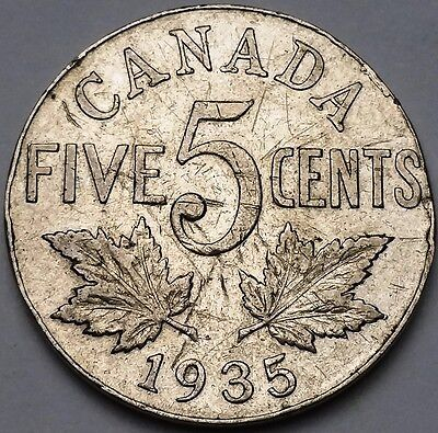 1935 Canada 5 Cents Nickel ***Struck Thru Error Coin*** Free Combined Shipping