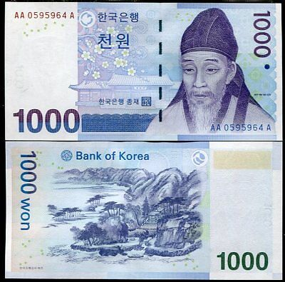 South Korea 1000 1,000 Won 2007 P 54 Aa-A Prefix Unc