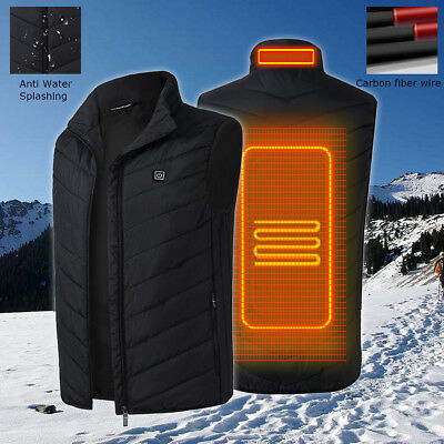 Men's Intelligent Heating USB Sleeveless Vest Full Zipper Outdoor Heated Coats