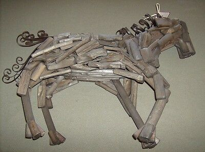 Beautiful large Red Shed hand crafted wooden stick constructed Horse figurine