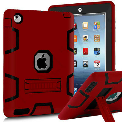 Three Layer Heavy Duty Full Body Protective Case with Kickstand for Apple iPad