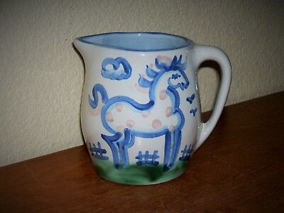 """Ma Hadley Pottery Country Scene Blue 5"""" Pinto Horse Pitcher Spotted Small Milk"""