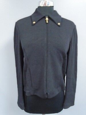 ST. JOHN COLLECTION Black Wool Blend Zip Front Knit Blazer Jacket Size 8 DD4744