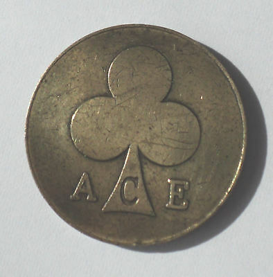 ace clubs coin gaming vending tokens retro 1950's - 1970's