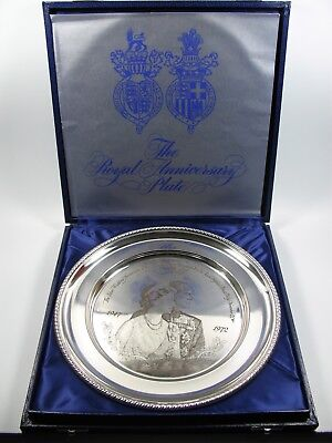 Ceremonial Plate for Silver Wedding 1972 Queen Elizabeth and Prince Philip 925