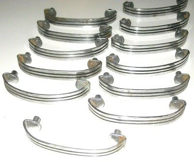 Lot of 12 Vintage Silver Chrome 1950's Kitchen Cabinet Drawer Pull Handles