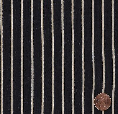 Antique 1890 Indigo and Tan Stripe Fabric