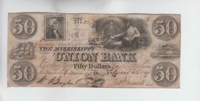 Obsolete Currency Union Bank Jackson Mississippi $50 fine stains