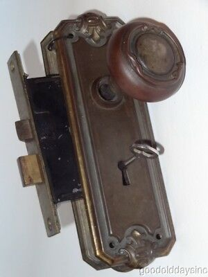 Antique Door Knobs w Lock Latch Key Back Plates & Skeleton KEY Brass Toned Metal