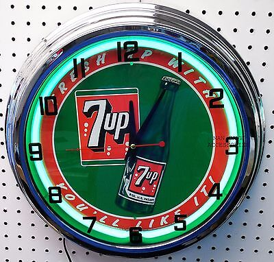 "17"" 7up Sign Neon Clock Fresh up with 7 UP you'll like it"