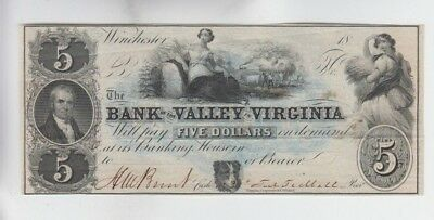 Obsolete Currency Bank of the Valley Virginia vf+