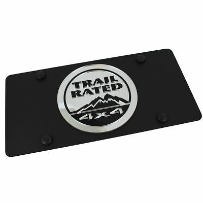 Jeep Trail Rated Logo On Carbon Stainless Steel License Plate