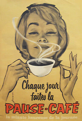 1950s VINTAGE MID-CENTURY MODERN FRENCH COFFEE POSTER, PAUSE-CAFE by COURONNE