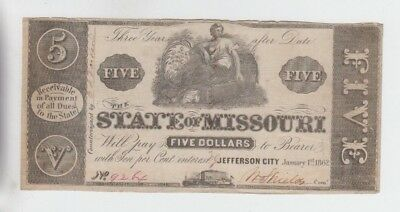 Obsolete Currency State of Missouri fine some minor edge problems