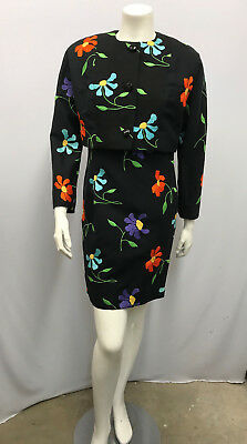 Vintage Pierre Balmain Dress Jacket Set Numbered Black Embroidered Flowers 8 S