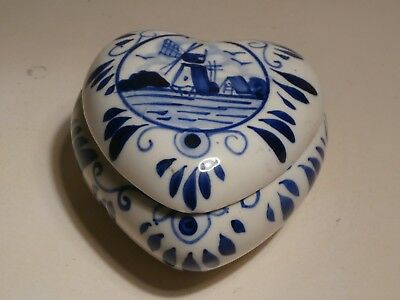Hand Painted in Delft Blue Color E. H. Heart Shaped Trinket Box