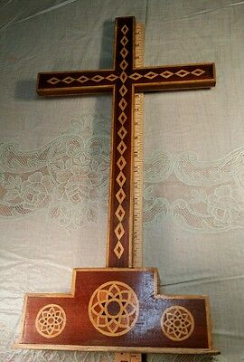 "Old Antique Hand Made 21"" Wood Inlay Cross Religious Signed Black Walnut Cherry"