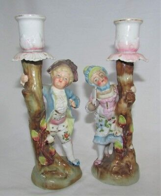 Vintage Pair Germany Conta & Boehme Figural Candle Holders Boy & Girl
