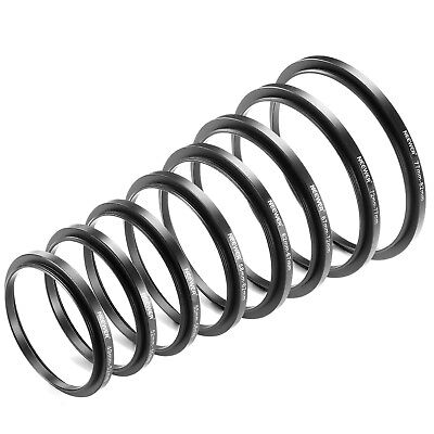 Neewer 8 Pieces Step-up Adapter Ring Set Made of Premium Anodized Aluminum Black
