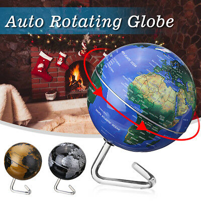 360 Automatic Rotating Earth Globe World Map Geography Educate Tool