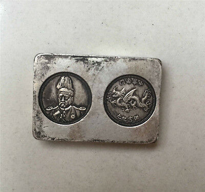 Chinese old handwork Tibet silver carved dragon soldier pay Miao silver bar
