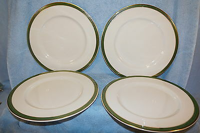 """Syracuse China Green and Gold Stripes 4 Dinner Plates  10 3/4"""""""