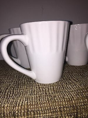 5 Libbey White Large Mugs Coffee Cups Ceramic Ribbed Dishwasher Microwave Safe
