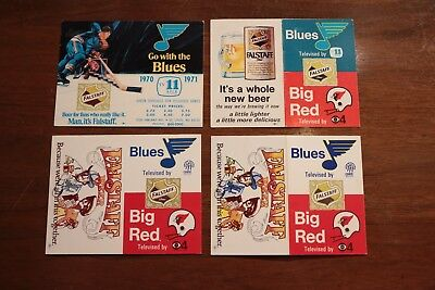 Lot of 4 Vintage St. Louis Blues Pocket Schedules 1970 1971 1972 1973 1974