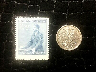 Authentic German WW2 Stamp & Antique 10 Pf German Coin