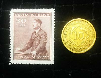 Authentic German WW2 unused Stamp & Antique 10 Pf Brs German Coin