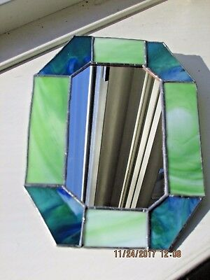 Stained Glass Blue Green Accent Mirror Hand Crafted!