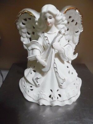 Off White & Gold Trim Angel- Playing a Lute Candle lighted