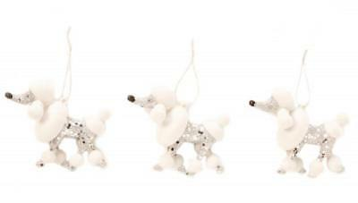 White Poodle Dog Shaped Silver Sequin Sparkle Shimmer Ornament Set of 3 Three
