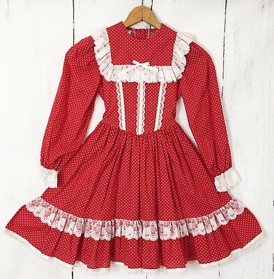 Vtg Mini World Dress Red Hearts Valentines Lace Ruffles Frilly Portrait Size 8