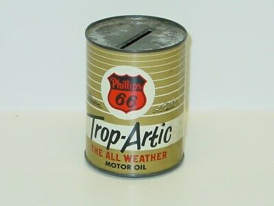 Vintage Motor Oil Can, Phillips 66 Trop Artic Coin Bank