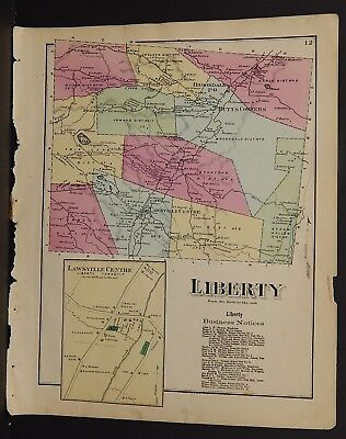 Pennsylvania Susquehanna County Map Liberty Township  1872 W15#96