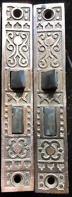 Lot (2) Antique Vtg Fancy Scroll Victorian Side Of The Door Mortise Lock Get All