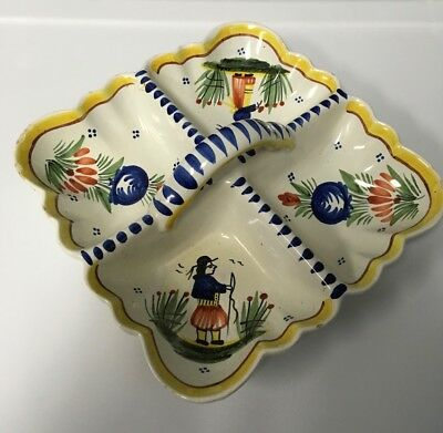 QUIMPER French Pottery 4 Part Nut Fruit Candy Dish Marked HB 388 Minor Chips