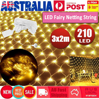 210 LED 3X2M String Fairy Lights Net Mesh Curtain  Wedding Party Outdoor Decor