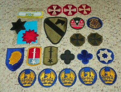 Us Army Patch Lot - 22 Patches - Army / National Guard - Original Wwii Era